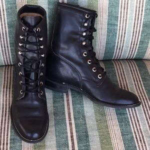 Leather Combat Boots - Black